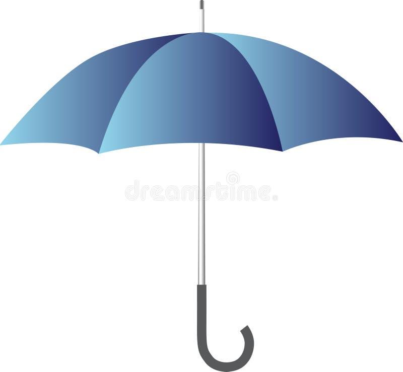 blått paraply royaltyfri illustrationer