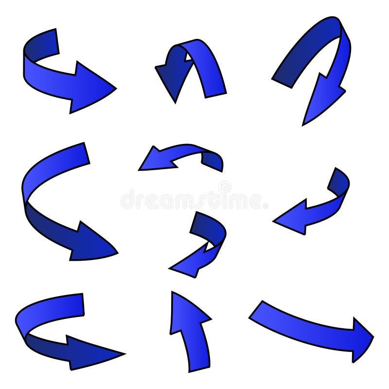 Blått pilsymbol, krökt symbolsaffärsidéuppsättning white för vektor för bakgrundsillustrationhaj stock illustrationer