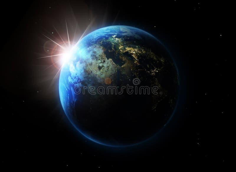 blått planet stock illustrationer