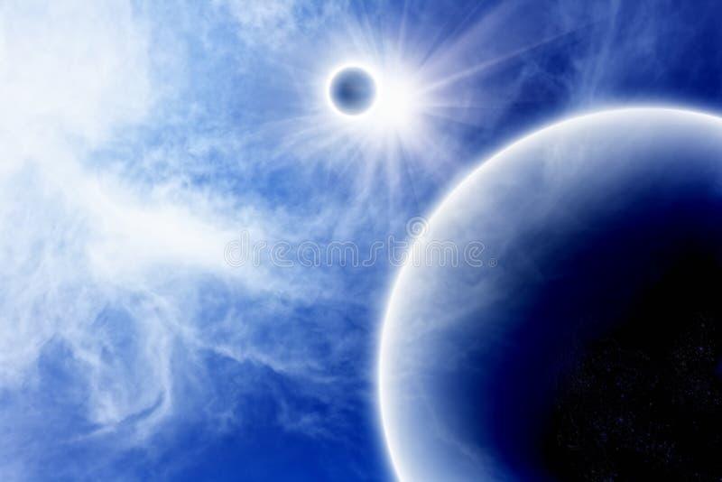 blått planetsatellitavstånd royaltyfria bilder