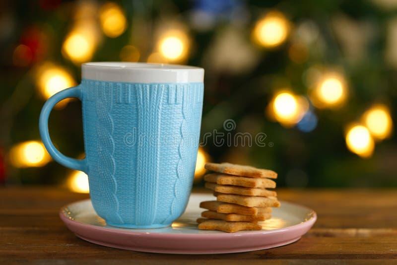 Blått rånar med varm choklad och ljust rödbrun kakor royaltyfri fotografi