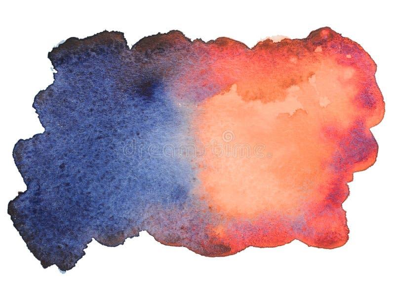 Blått-röd vattenfärgfläck fotografering för bildbyråer