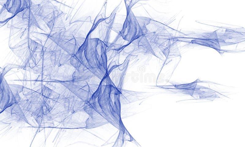 Blått rökabstrakt begrepp på vit bakgrund royaltyfri illustrationer