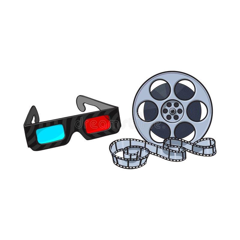 Blått-rött stereoskopiskt, exponeringsglas 3d och biofilmrulle vektor illustrationer