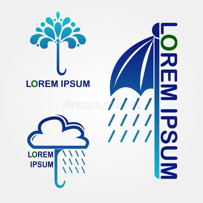 blått regn stock illustrationer