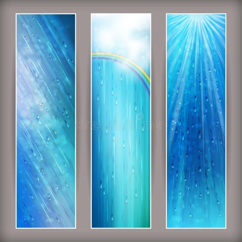 Blått regnar baner som abstrakt begrepp bevattnar bakgrundsdesign stock illustrationer