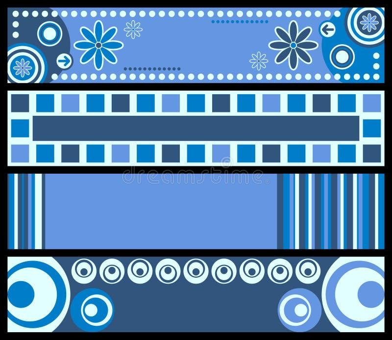 blått retro för baner stock illustrationer