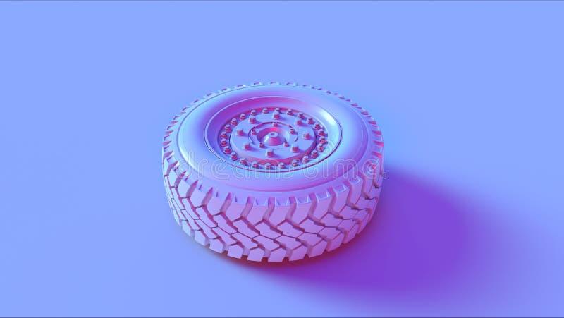 Blått rosa lastbilhjul royaltyfria bilder