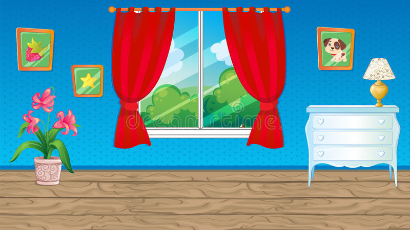 Blått rum med den röda gardinen royaltyfri illustrationer