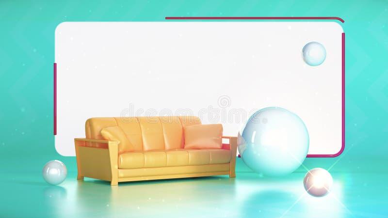Blått rum med glansiga whutebollar för gul soffa och vitskärm på väggen Bakgrund för TVTV-sändningstil 3d framför royaltyfri illustrationer