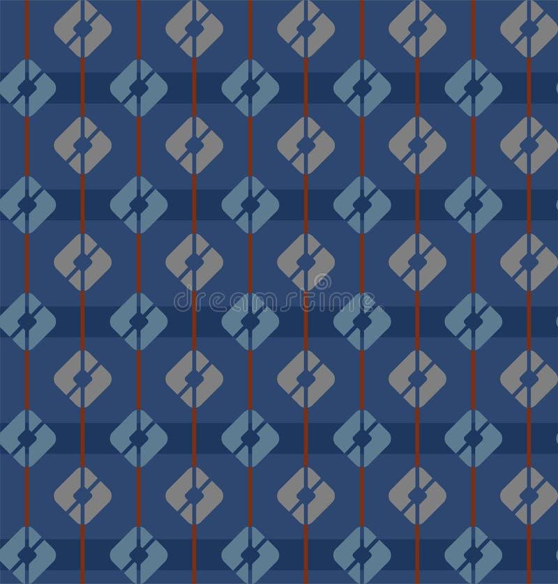 Blått sömlös modell, fyrkanter, band som är geometriska, mång--färg royaltyfri illustrationer