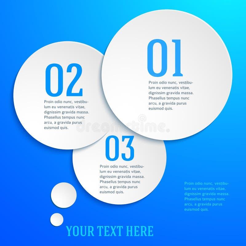 Blått-sida-mall-presentation-moment-alternativ-cirkel royaltyfri illustrationer
