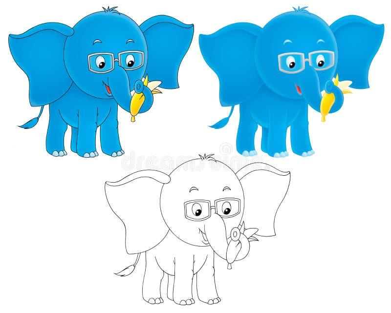 blått slitage för elefantögonexponeringsglas stock illustrationer