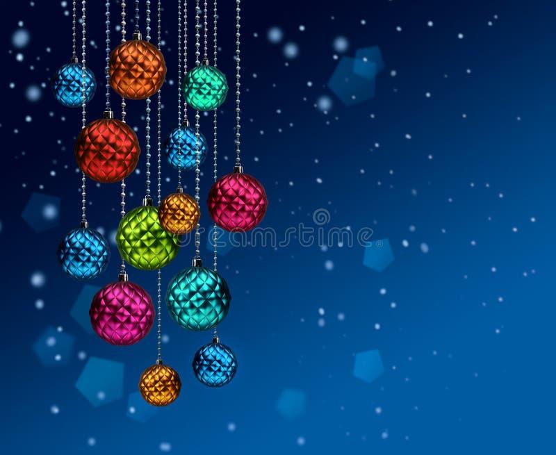 Blått snöfall för färgrika julbollar stock illustrationer