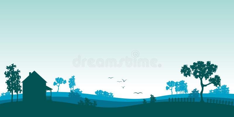 Blått sommarlandskap royaltyfri illustrationer