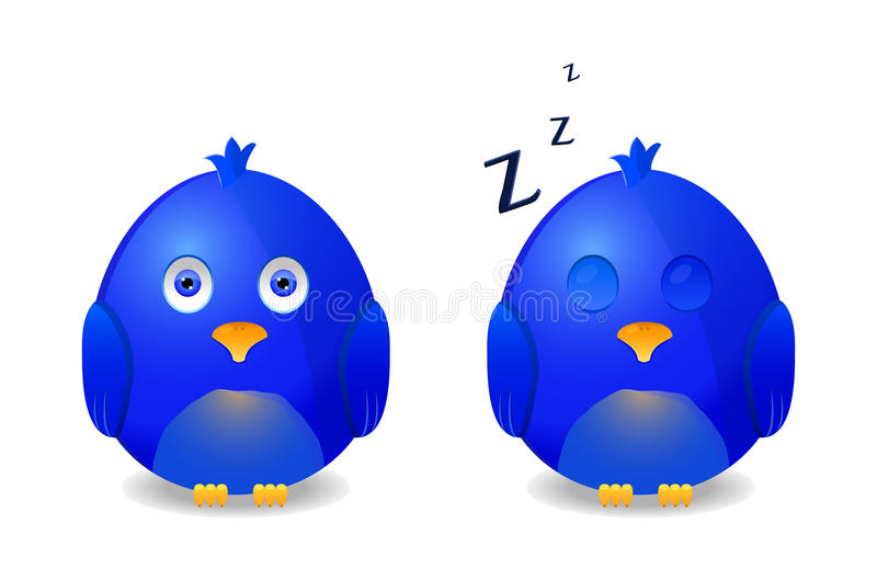 blått sova för vaken fågel vektor illustrationer