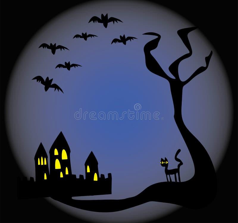 blått spöklikt för bakgrund royaltyfri illustrationer