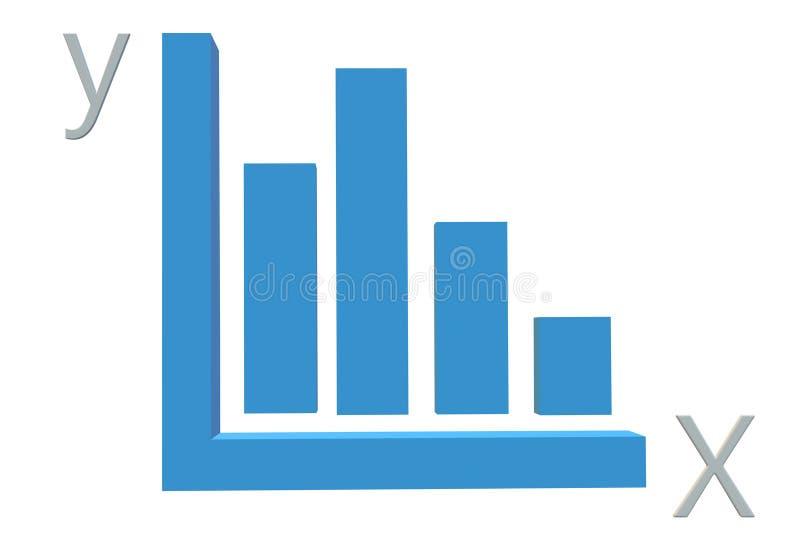Blått stångdiagram för X-Y axel stock illustrationer
