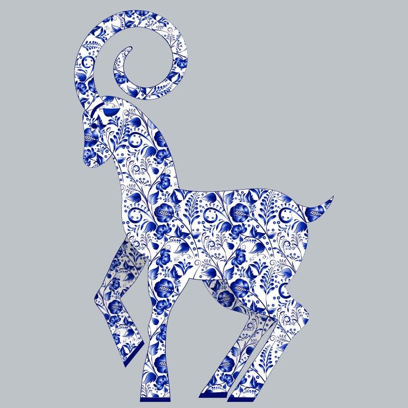 Blått stiliserad get Gzhel Blå blom- traditionell modell för ryss vektor illustrationer