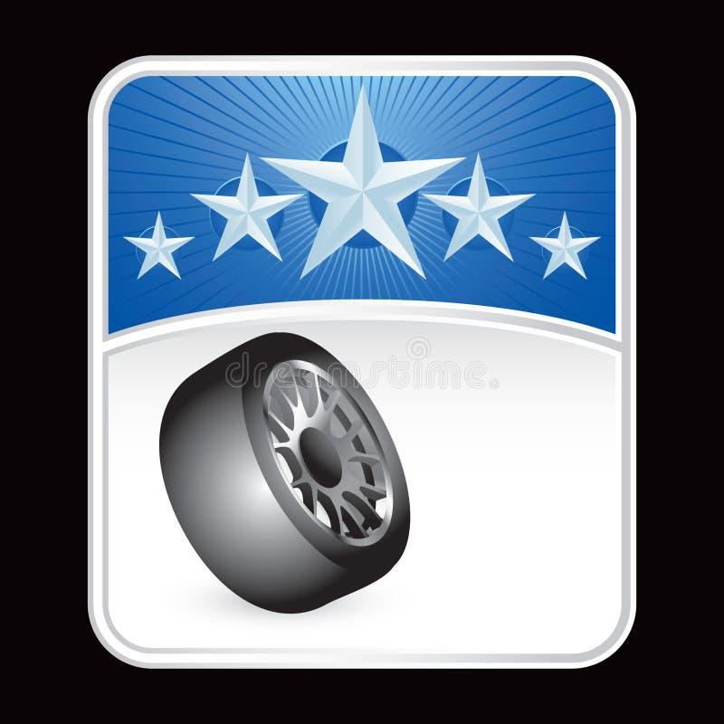 blått stjärnagummihjul för bakgrund royaltyfri illustrationer
