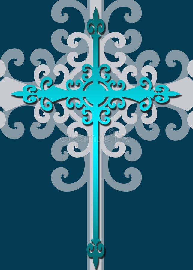 blått stylized dekorativt för kors stock illustrationer