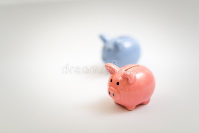 Blått symbol av årsspargrisen som är rosa och på vit bakgrund royaltyfri bild