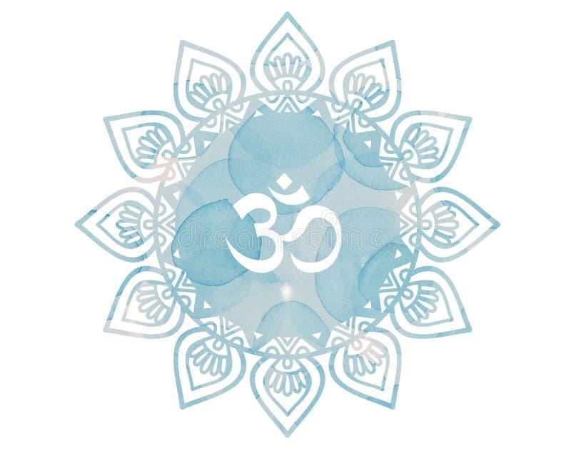 Blått symbol för vattenfärgmandalaOm Aum stock illustrationer
