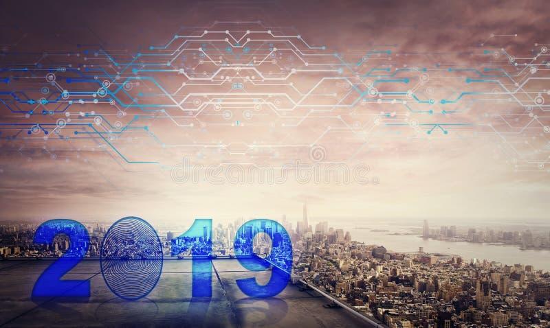Blått 2019 symbolshologram på taket av en skyskrapa över storstadsolnedgånghorisonten, effekt för dubbel exponering Lås det nytt  vektor illustrationer