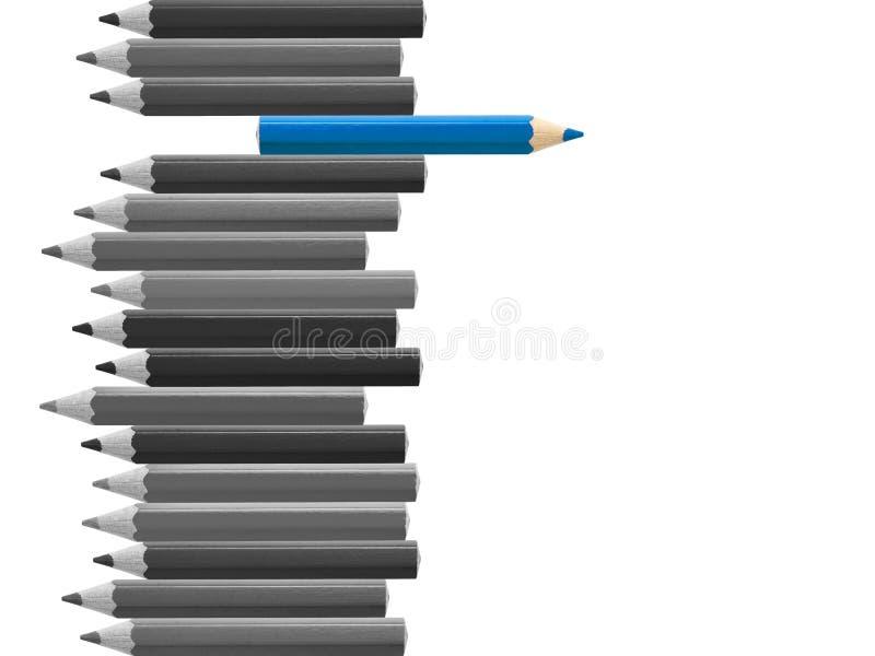 Blått tänka för blyertspenna som är olikt från den isolerade folkmassan arkivbild