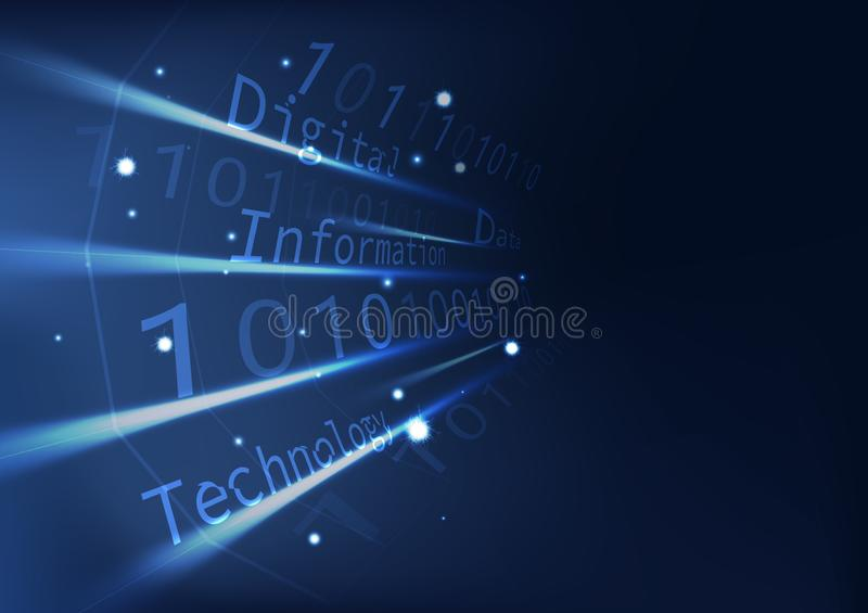 Blått teknologiperspektiv med information om koddatabas, futuristisk polygon för digital konst med abstrakt bakgrund för ljus eff vektor illustrationer