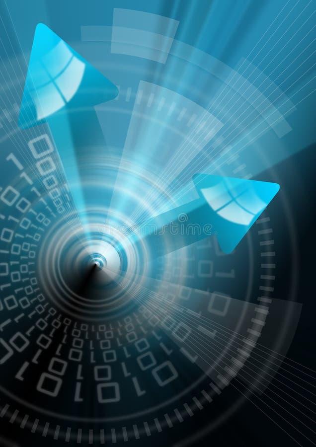 blått teknologiskt för pilbakgrund stock illustrationer
