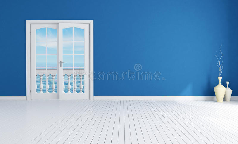 blått tomt inre medelhavs- royaltyfri illustrationer