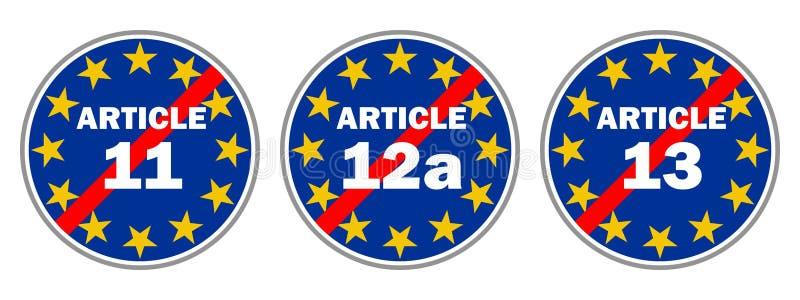 Blått trafiktecken att förhindra artikel 11, 12a och 13 royaltyfri illustrationer