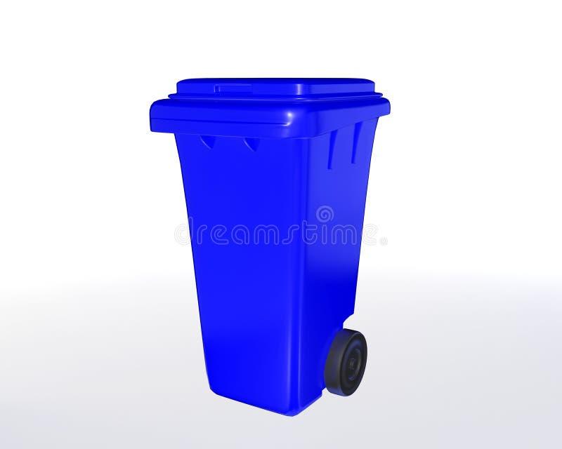 Blått trashcan royaltyfri illustrationer