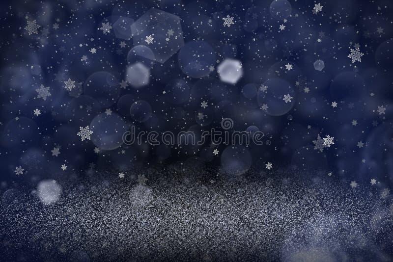Blått underbart glansigt blänker bakgrund för defocused bokeh för ljus abstrakt, och fallande snöflingor flyger, celebratory mode royaltyfri illustrationer