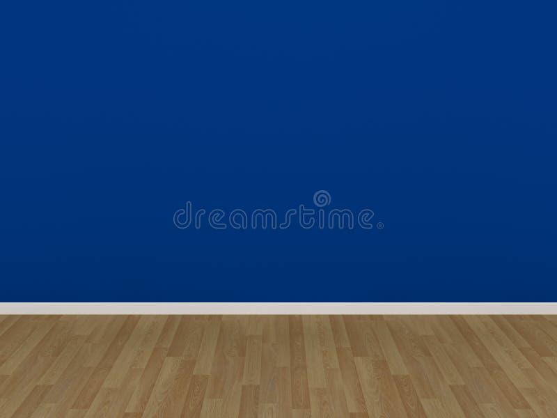 Blått vägg- och trägolv i ett tomt rum vektor illustrationer