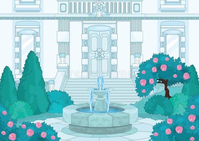 Blått växthus för slottkunglig personträdgård stock illustrationer