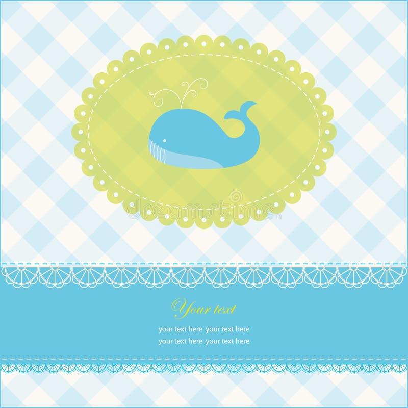 blått val för avstånd för kortkopieringshälsning royaltyfri illustrationer