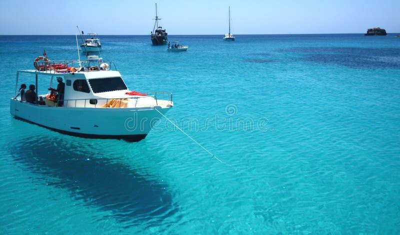 Blått vatten i havet av Lampedusa royaltyfri bild