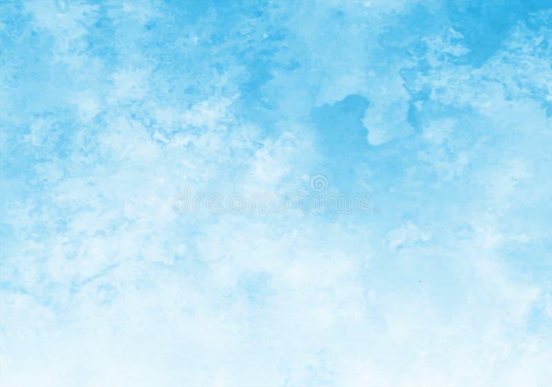 Blått vattenfärgsvektorbakgrund Abstrakt bakgrund för handmålning med fyrkantig färg vektor illustrationer