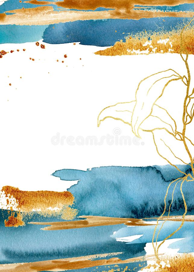 Blått vertikalt kort för vattenfärg med den undervattens- växten Handen målade den blom- mallen med den guld- laminariafilialen o royaltyfri illustrationer