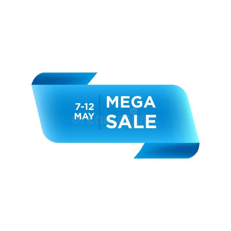 Blått vikt runt band Mega design f?r Sale banermall Specialt erbjudande för stor mega försäljning Baner för specialt erbjudande f vektor illustrationer