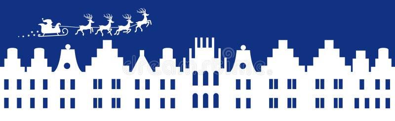 Blått vinterjulbaner royaltyfri illustrationer