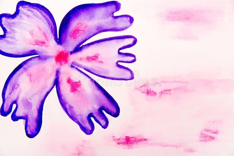 Blått-violett blommavattenfärg stock illustrationer
