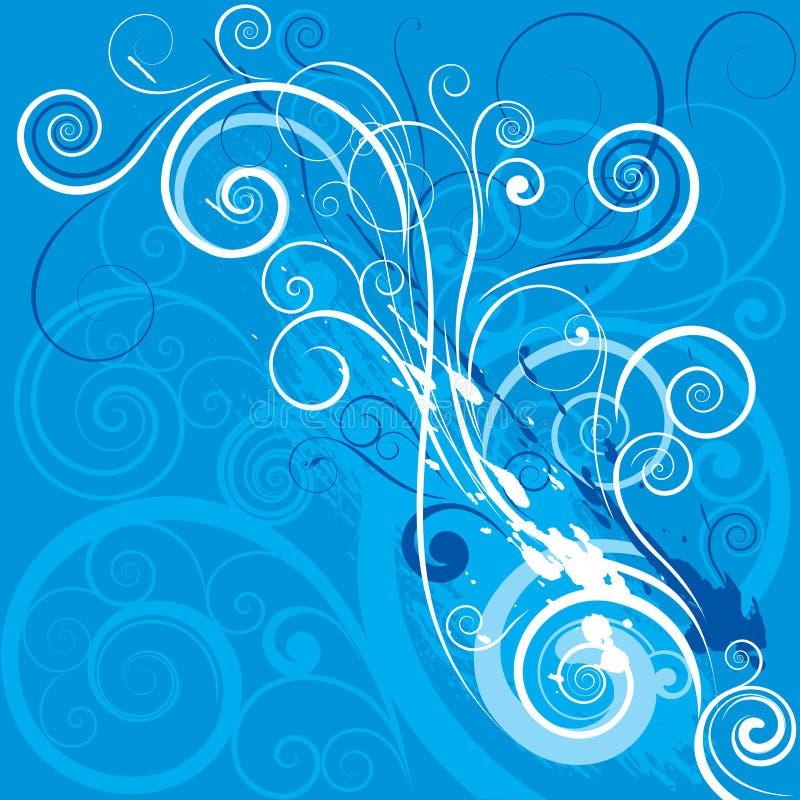 Blått virvlar runt designbakgrund stock illustrationer