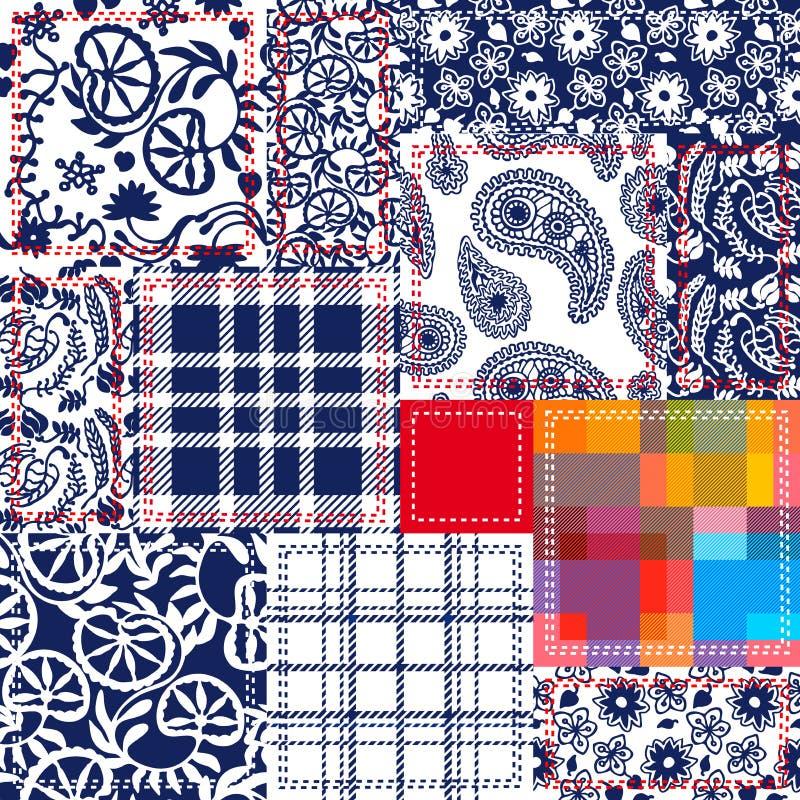 Blått vit, röd patchwork Textilcollage royaltyfri fotografi
