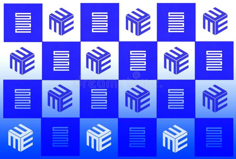 Blått vitt schackfält med geometriska modeller royaltyfria foton