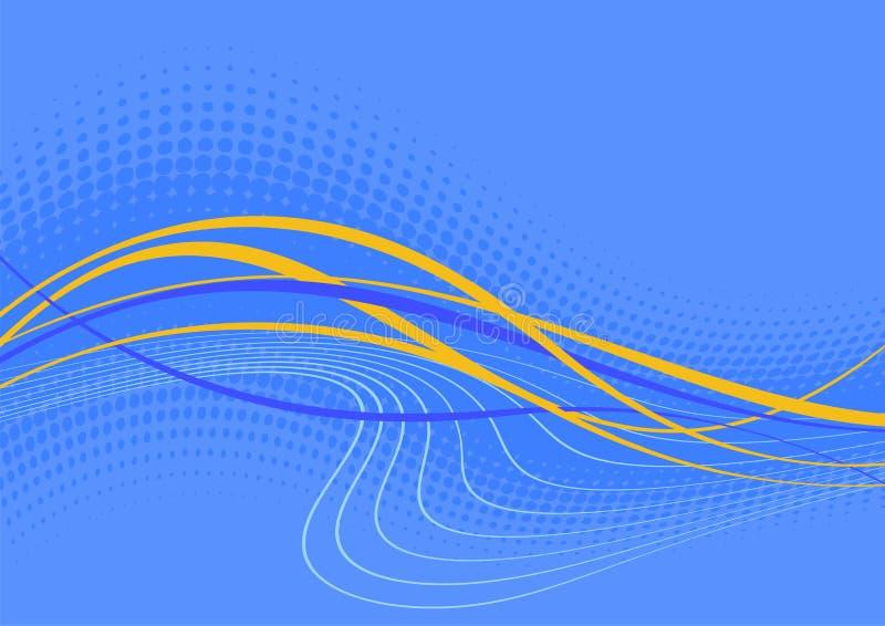 blått wavy för abstrakt bakgrund stock illustrationer