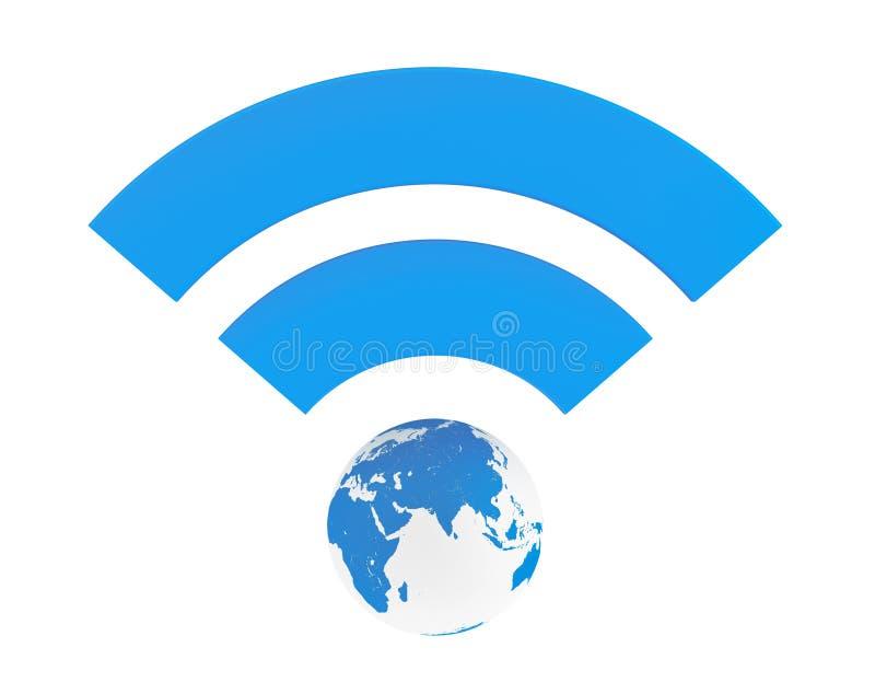 Blått WiFi symbol med jordjordklotet stock illustrationer