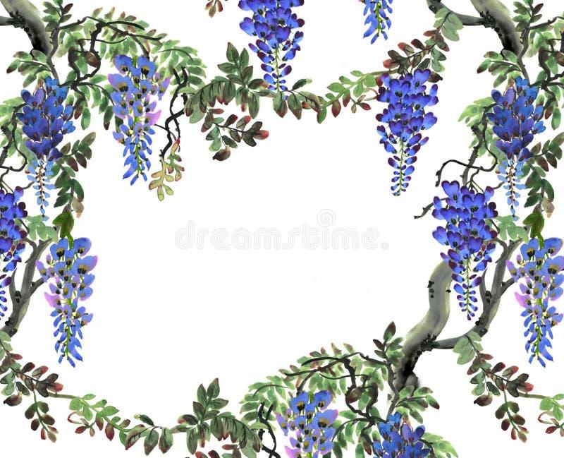 Blått wisteriaträd stock illustrationer